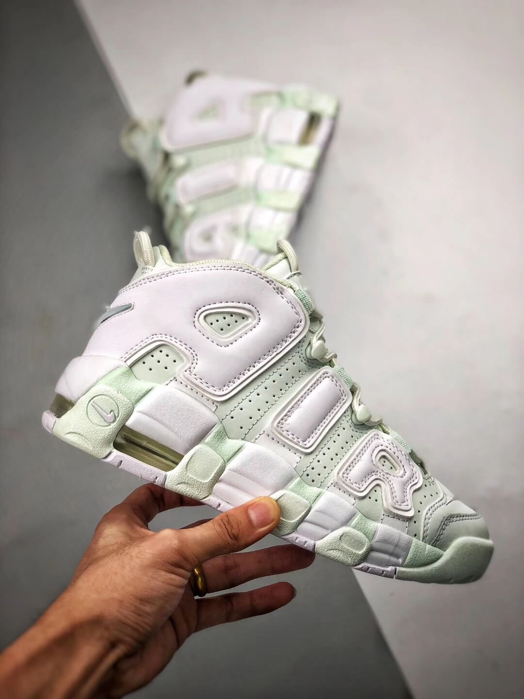 The Nike Wmns Air More Uptempo Barely Green Basketball Shoes Womens Athletic Rep Sneakers 02