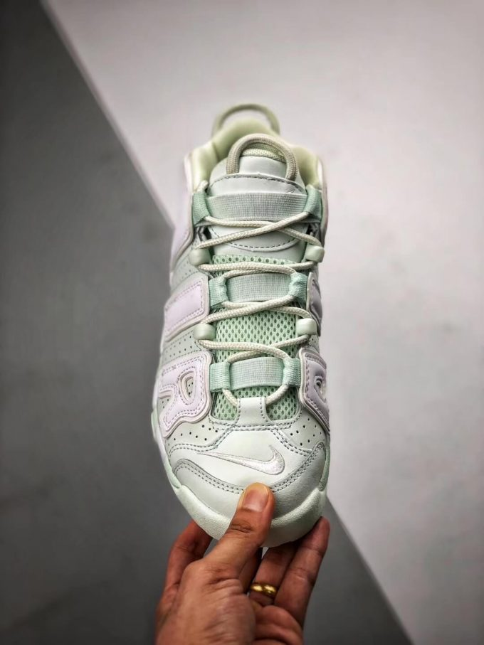 The Nike Wmns Air More Uptempo Barely Green Basketball Shoes Womens Athletic Rep Sneakers 03