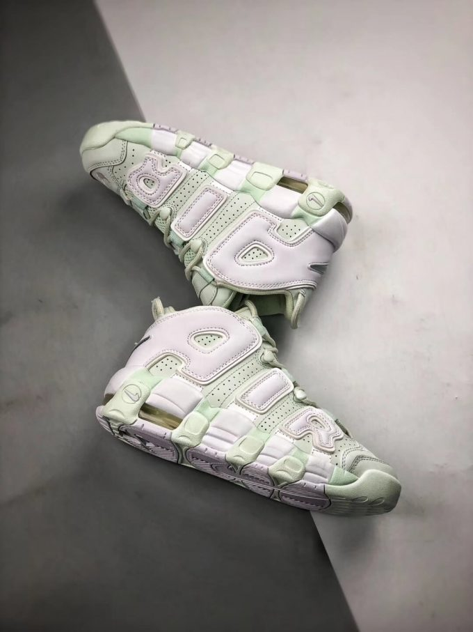 The Nike Wmns Air More Uptempo Barely Green Basketball Shoes Womens Athletic Rep Sneakers 08