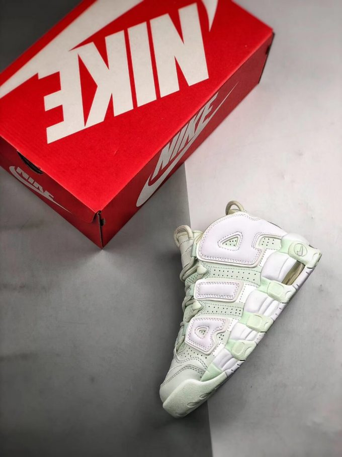 The Nike Wmns Air More Uptempo Barely Green Basketball Shoes Womens Athletic Rep Sneakers 09
