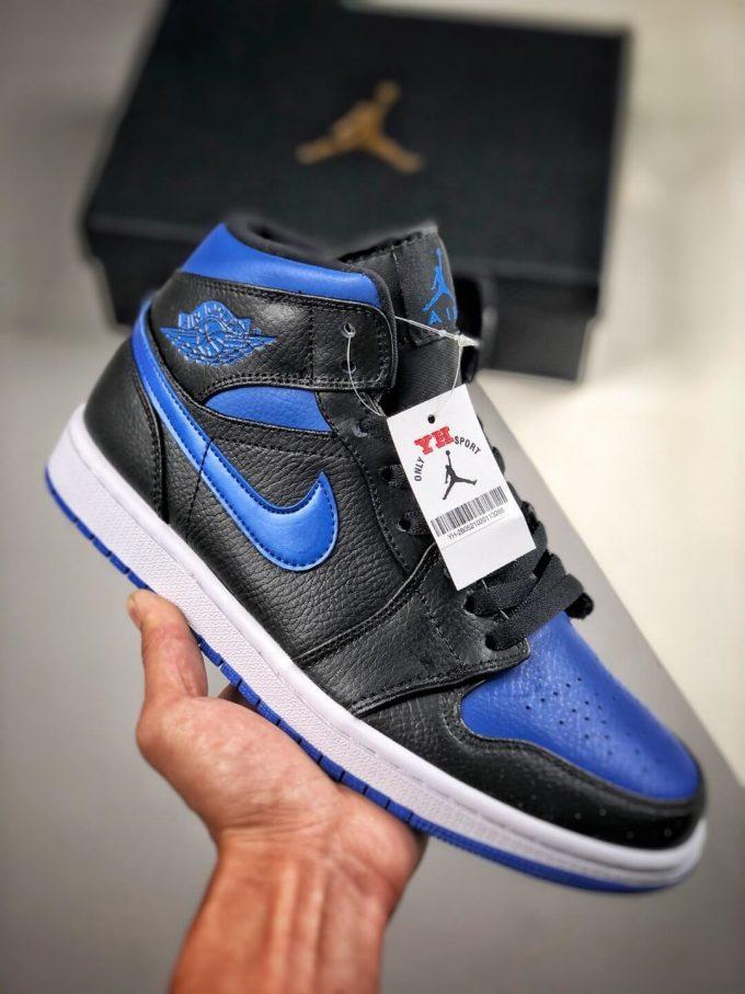 The Air Jordan 1 Mid Black Hyper Royal Sneaker Black Leather Upper Swoosh Royal Blue Nike Logo Wing Jumpman Repshoes 01