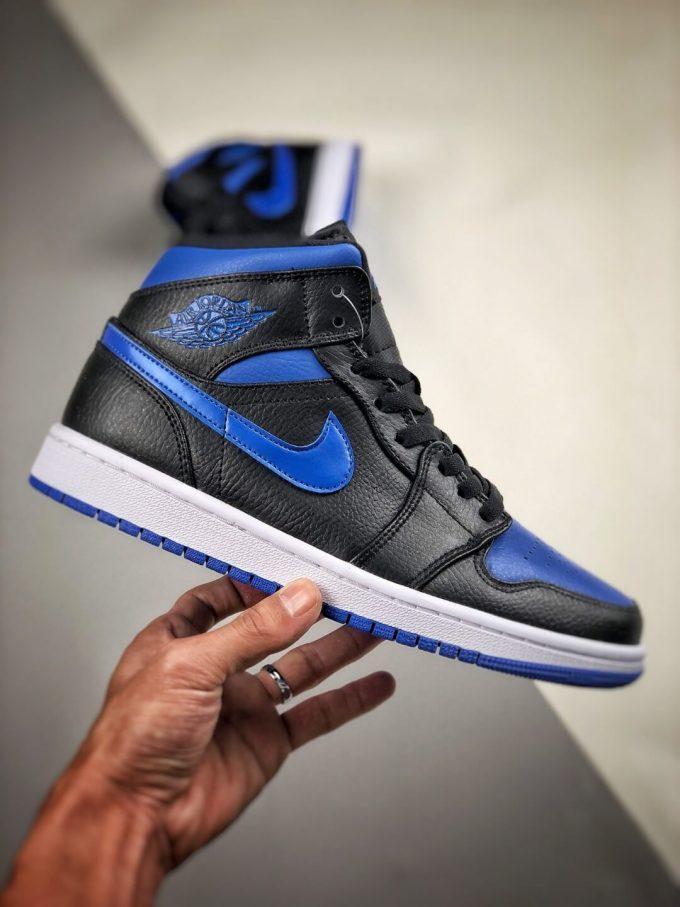The Air Jordan 1 Mid Black Hyper Royal Sneaker Black Leather Upper Swoosh Royal Blue Nike Logo Wing Jumpman Repshoes 02