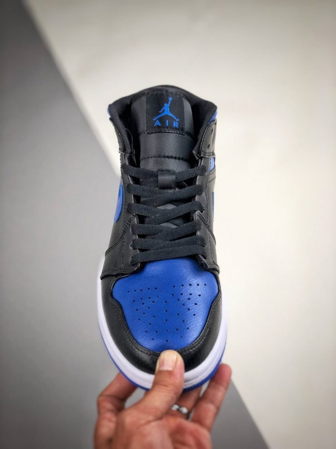 The Air Jordan 1 Mid Black Hyper Royal Sneaker Black Leather Upper Swoosh Royal Blue Nike Logo Wing Jumpman Repshoes 03