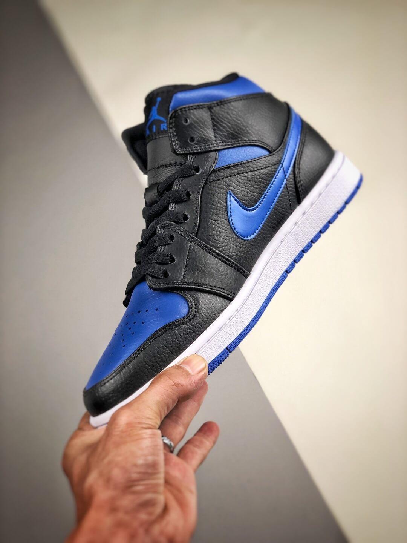 The Air Jordan 1 Mid Black Hyper Royal Sneaker Black Leather Upper Swoosh Royal Blue Nike Logo Wing Jumpman Repshoes 04