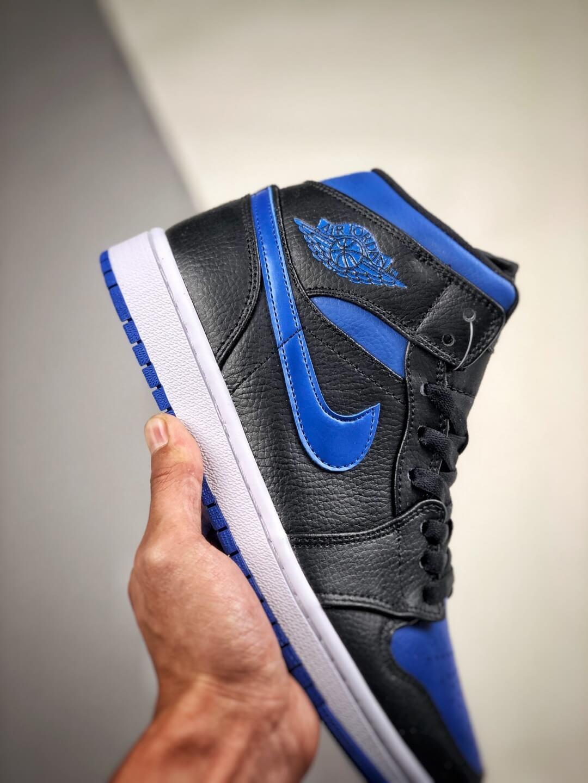 The Air Jordan 1 Mid Black Hyper Royal Sneaker Black Leather Upper Swoosh Royal Blue Nike Logo Wing Jumpman Repshoes 05