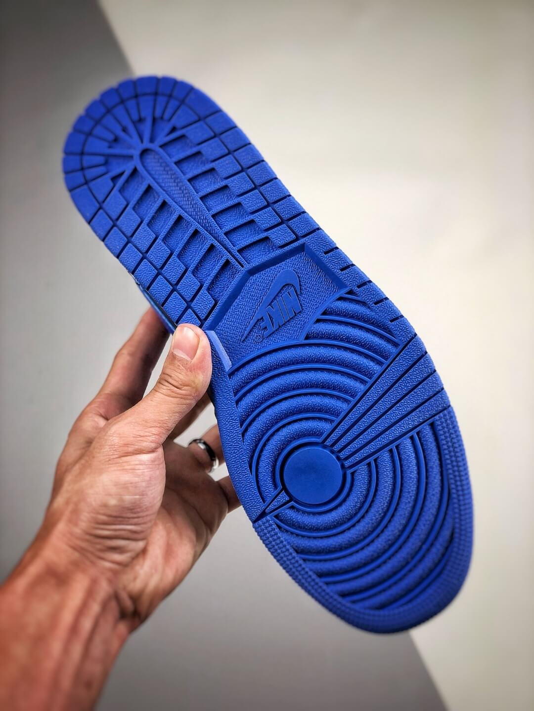 The Air Jordan 1 Mid Black Hyper Royal Sneaker Black Leather Upper Swoosh Royal Blue Nike Logo Wing Jumpman Repshoes 06
