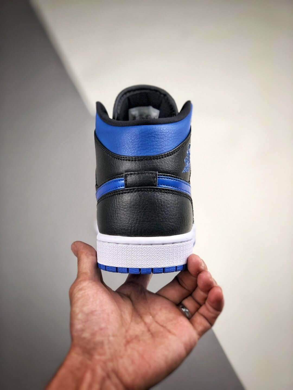 The Air Jordan 1 Mid Black Hyper Royal Sneaker Black Leather Upper Swoosh Royal Blue Nike Logo Wing Jumpman Repshoes 07