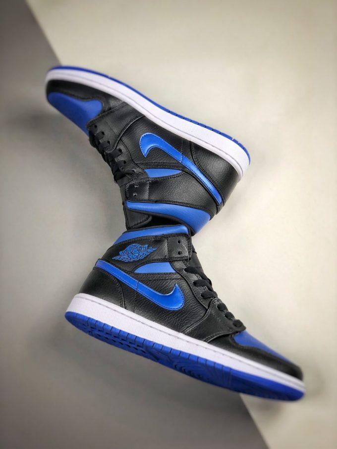 The Air Jordan 1 Mid Black Hyper Royal Sneaker Black Leather Upper Swoosh Royal Blue Nike Logo Wing Jumpman Repshoes 08