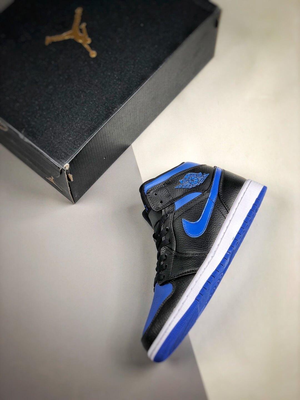 The Air Jordan 1 Mid Black Hyper Royal Sneaker Black Leather Upper Swoosh Royal Blue Nike Logo Wing Jumpman Repshoes 09