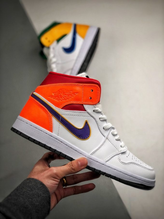 The Air Jordan 1 Mid GS White Court Purple Teal Repsneaker White Leather Upper Green Collar and Yellow Overlay 02