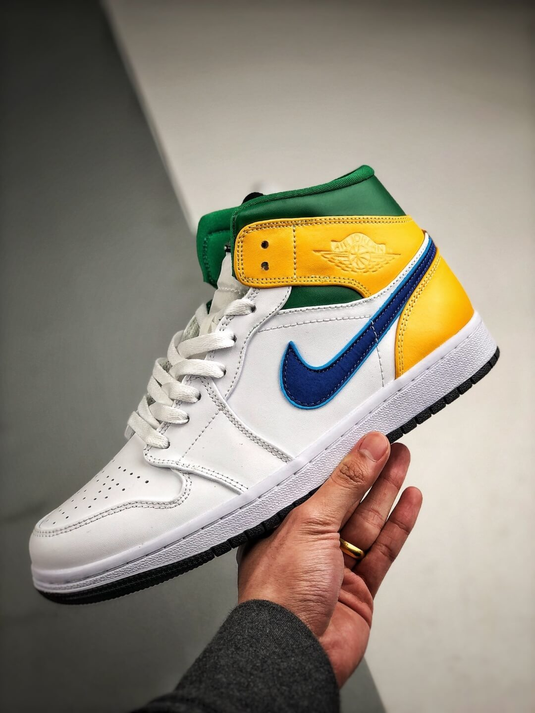 The Air Jordan 1 Mid GS White Court Purple Teal Repsneaker White Leather Upper Green Collar and Yellow Overlay 04