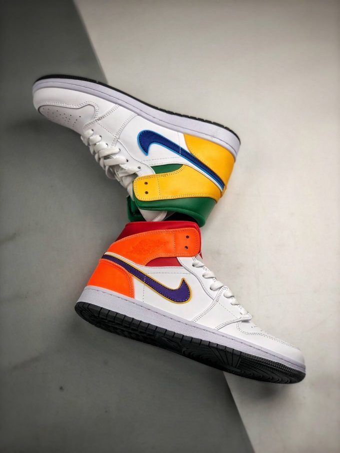 The Air Jordan 1 Mid GS White Court Purple Teal Repsneaker White Leather Upper Green Collar and Yellow Overlay 08