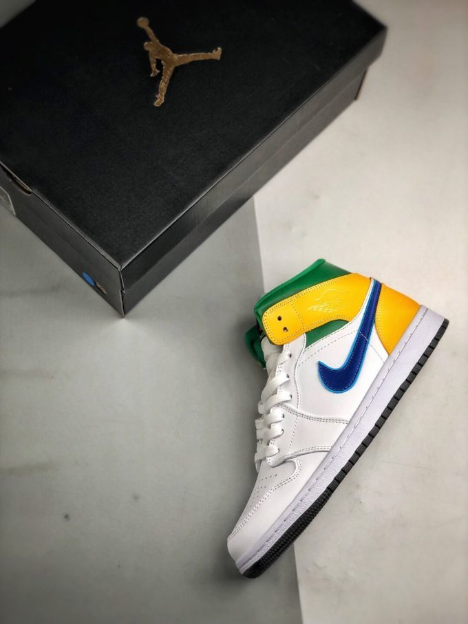 The Air Jordan 1 Mid GS White Court Purple Teal Repsneaker White Leather Upper Green Collar and Yellow Overlay 09