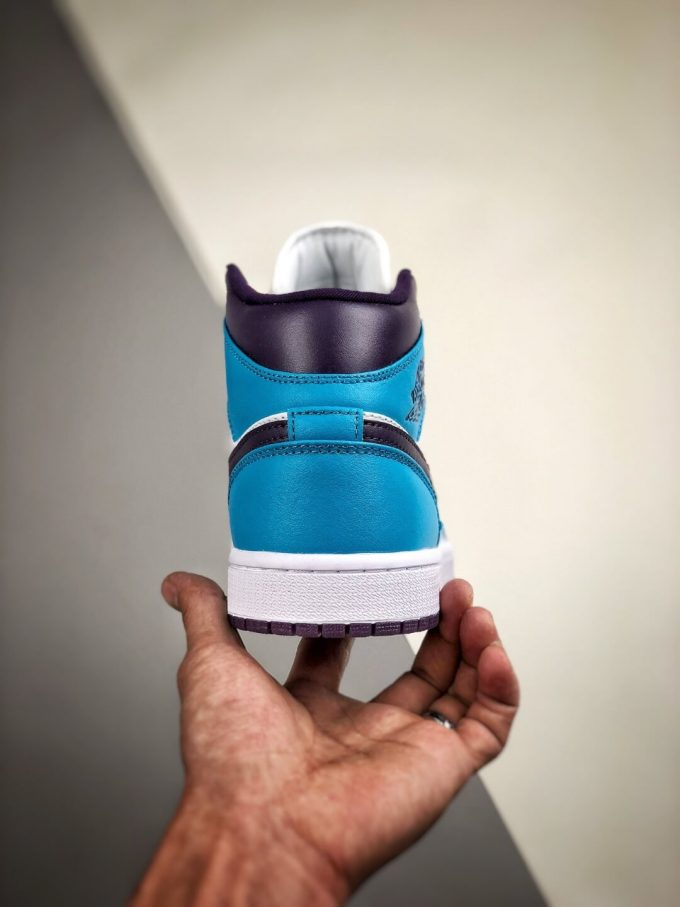 The Air Jordan 1 Mid Hornets Blue Lagoon and Grand Purple Leather Upper Jordan Wings Logo Repsneakers 07