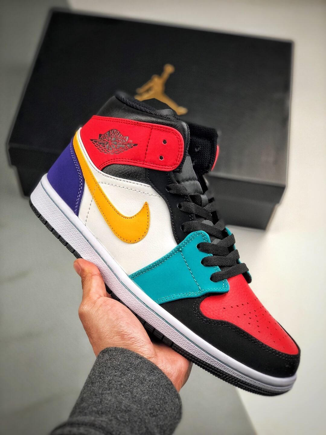 falta patrón Australia  The Air Jordan 1 Mid 'Multi-Color' Sneaker Red and Red on Toe and Collar  Orange Swoosh Nike Logo Repsneakers – The Quality Replica Sneakers Supplier  in China