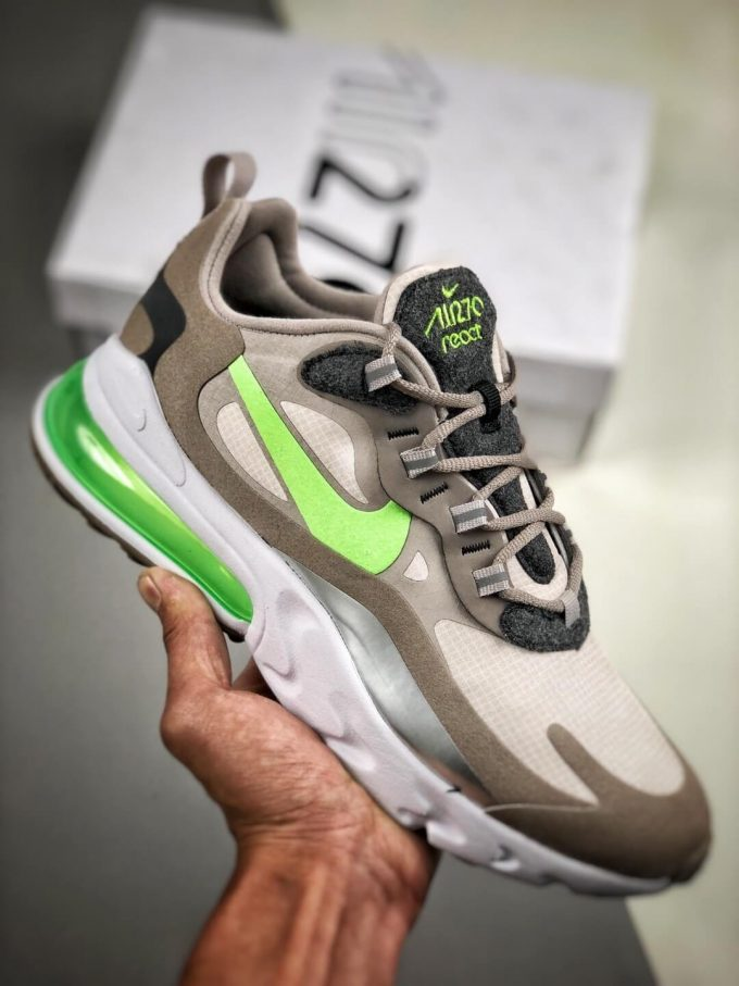 The Nike Air Max 270 React White Grey Silver Green RepSneaker Summit White Upper Grey Fringe Greey Nike Logo 01