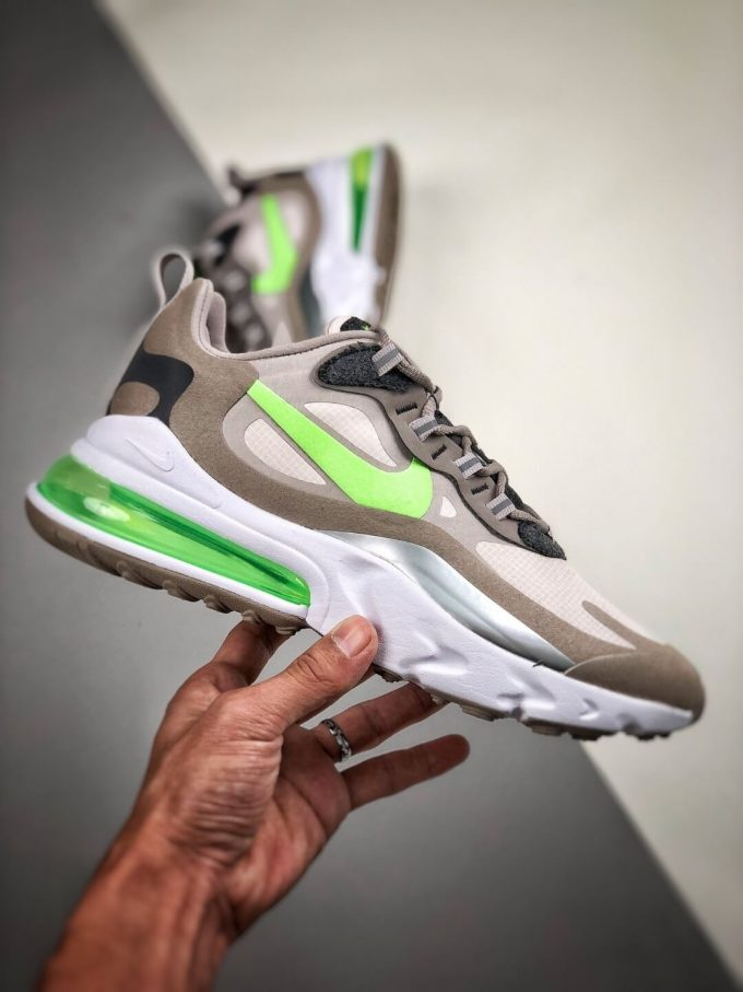 The Nike Air Max 270 React White Grey Silver Green RepSneaker Summit White Upper Grey Fringe Greey Nike Logo 02