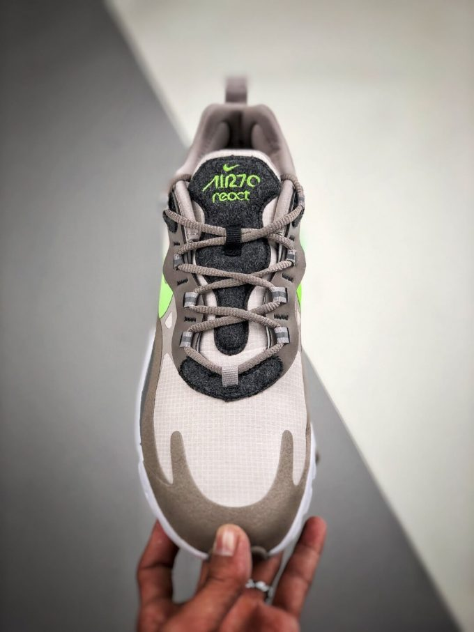 The Nike Air Max 270 React White Grey Silver Green RepSneaker Summit White Upper Grey Fringe Greey Nike Logo 03