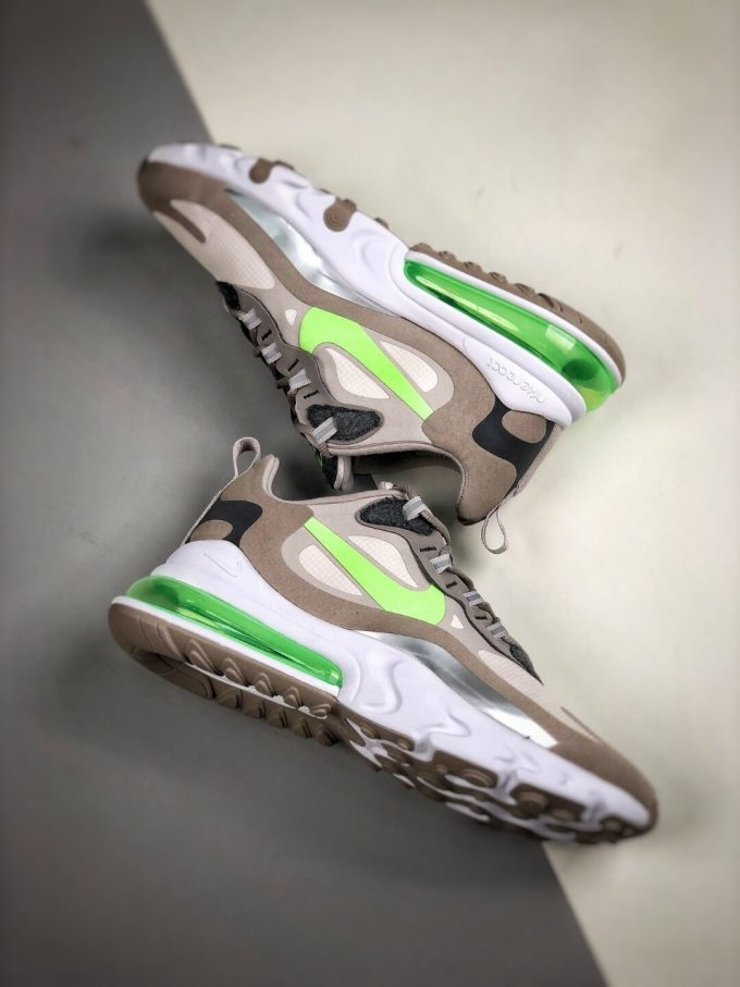 The Nike Air Max 270 React White Grey Silver Green RepSneaker Summit White Upper Grey Fringe Greey Nike Logo 08