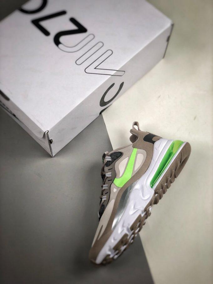 The Nike Air Max 270 React White Grey Silver Green RepSneaker Summit White Upper Grey Fringe Greey Nike Logo 09