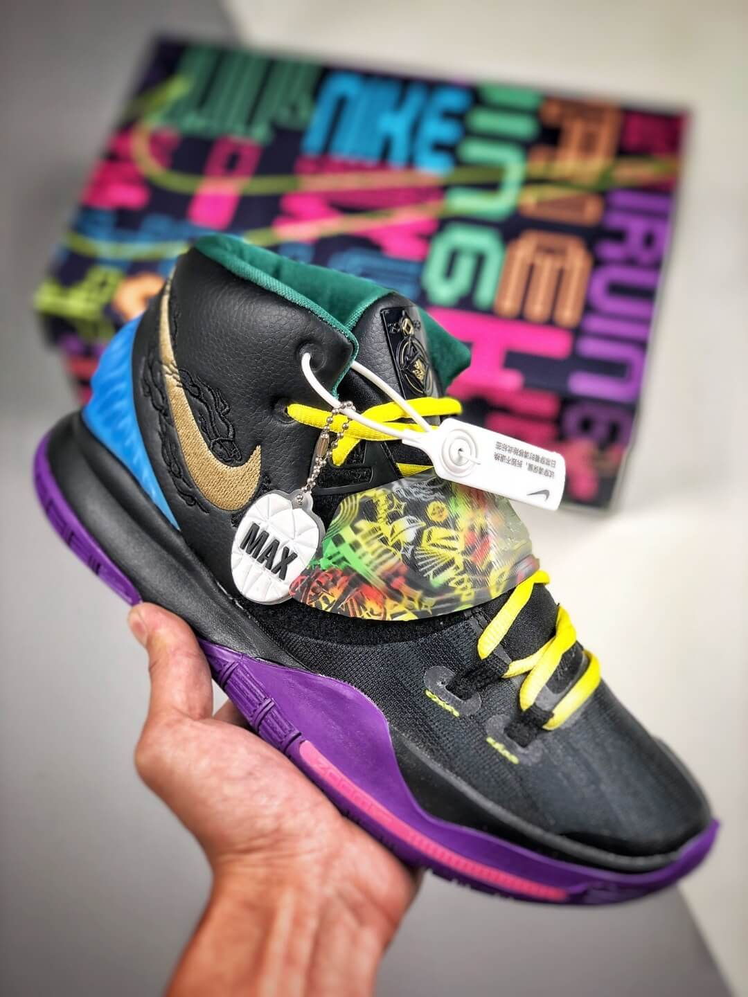 The Nike Kyrie 6 Chinese New Year Sneaker Multicolor Graphic Black Mesh Leather Upper Purple Outsole Replica Shoes 01
