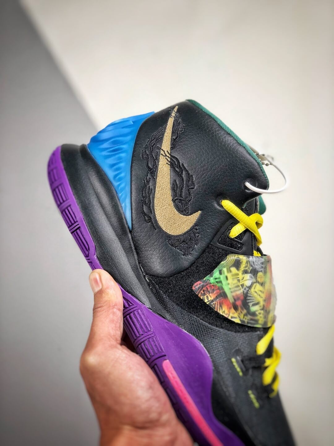 The Nike Kyrie 6 Chinese New Year Sneaker Multicolor Graphic Black Mesh Leather Upper Purple Outsole Replica Shoes 05