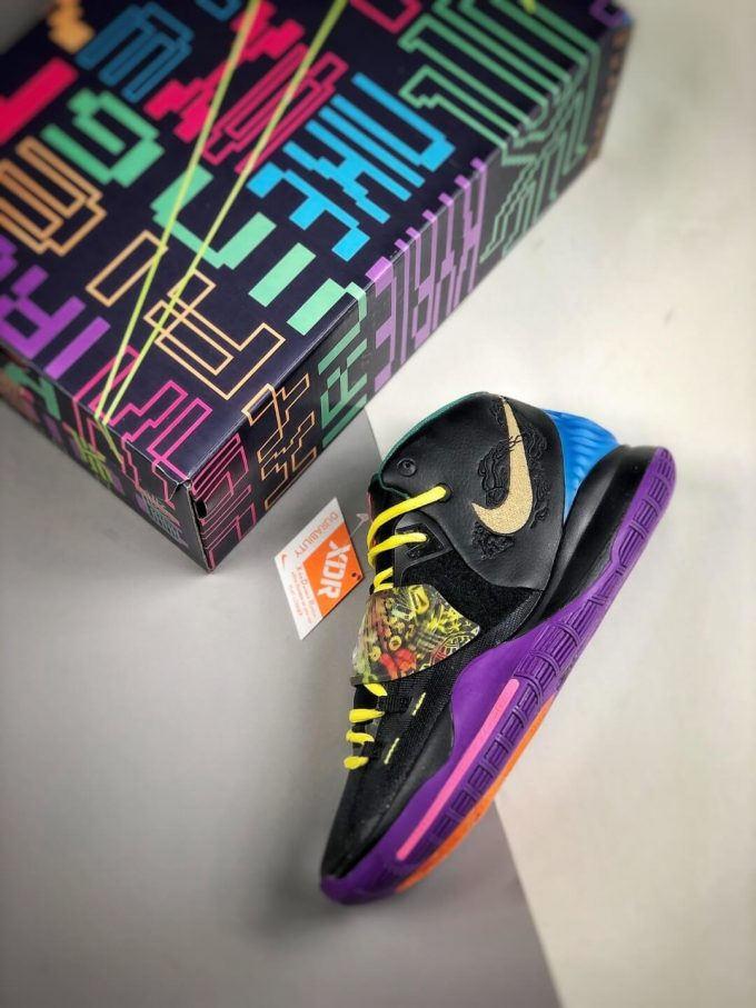 The Nike Kyrie 6 Chinese New Year Sneaker Multicolor Graphic Black Mesh Leather Upper Purple Outsole Replica Shoes 09