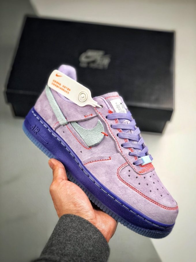The Nike Wmns Air Force 1 Low LX Purple Agate Suede Upper Orange Stitches Ocean Blue Outsoles Repsneaker 01