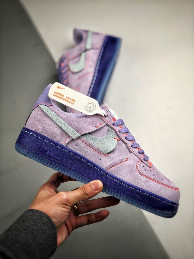 The Nike Wmns Air Force 1 Low LX Purple Agate Suede Upper Orange Stitches Ocean Blue Outsoles Repsneaker 02