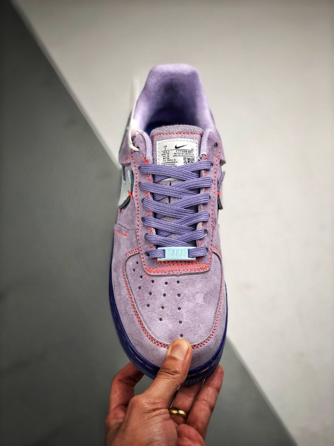 The Nike Wmns Air Force 1 Low LX Purple Agate Suede Upper Orange Stitches Ocean Blue Outsoles Repsneaker 03