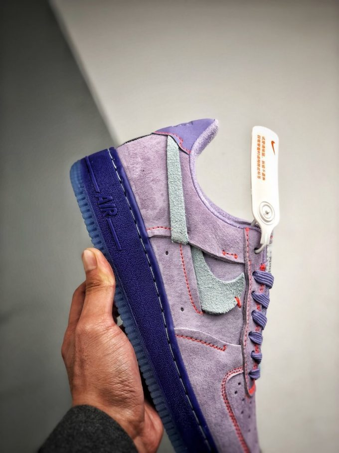 The Nike Wmns Air Force 1 Low LX Purple Agate Suede Upper Orange Stitches Ocean Blue Outsoles Repsneaker 05