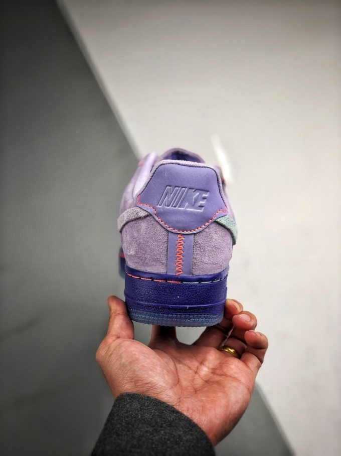 The Nike Wmns Air Force 1 Low LX Purple Agate Suede Upper Orange Stitches Ocean Blue Outsoles Repsneaker 10