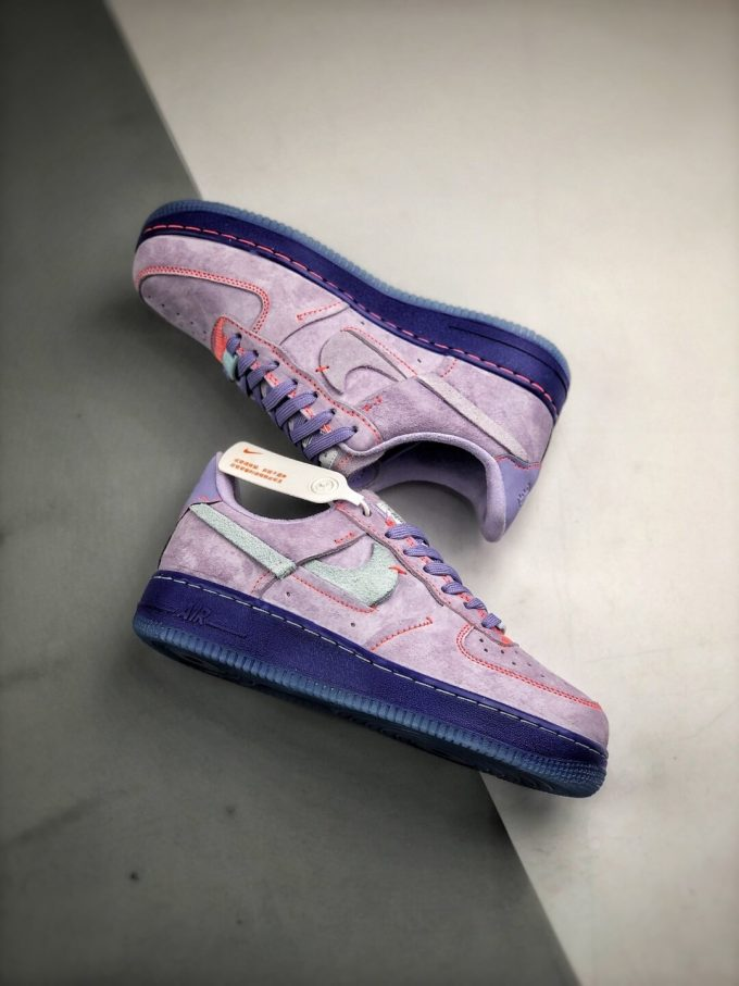The Nike Wmns Air Force 1 Low LX Purple Agate Suede Upper Orange Stitches Ocean Blue Outsoles Repsneaker 11