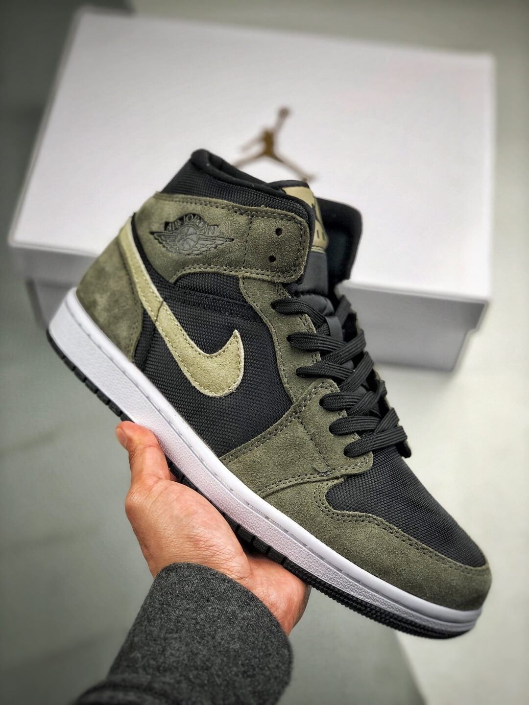 The Nike Wmns Air Jordan 1 Mid Olive Black Mesh Underlay Olive Tan Suede Overlay Repshoes 01