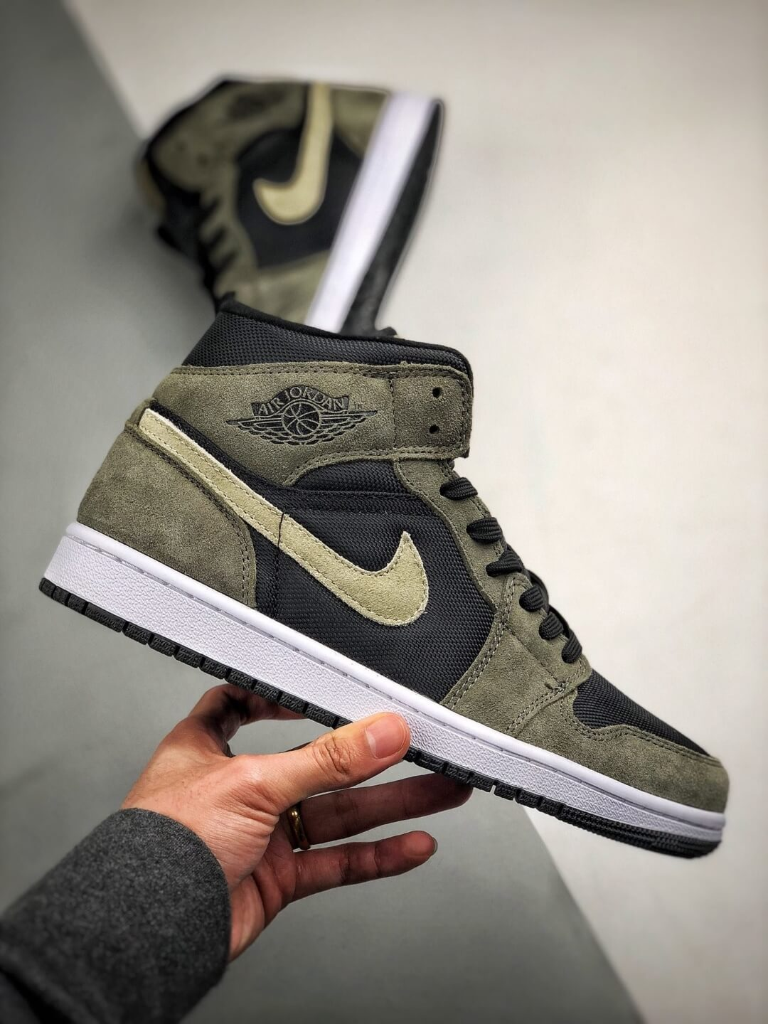The Nike Wmns Air Jordan 1 Mid Olive Black Mesh Underlay Olive Tan Suede Overlay Repshoes 02