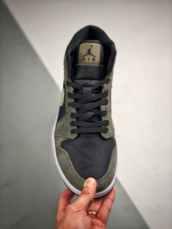 The Nike Wmns Air Jordan 1 Mid Olive Black Mesh Underlay Olive Tan Suede Overlay Repshoes 03