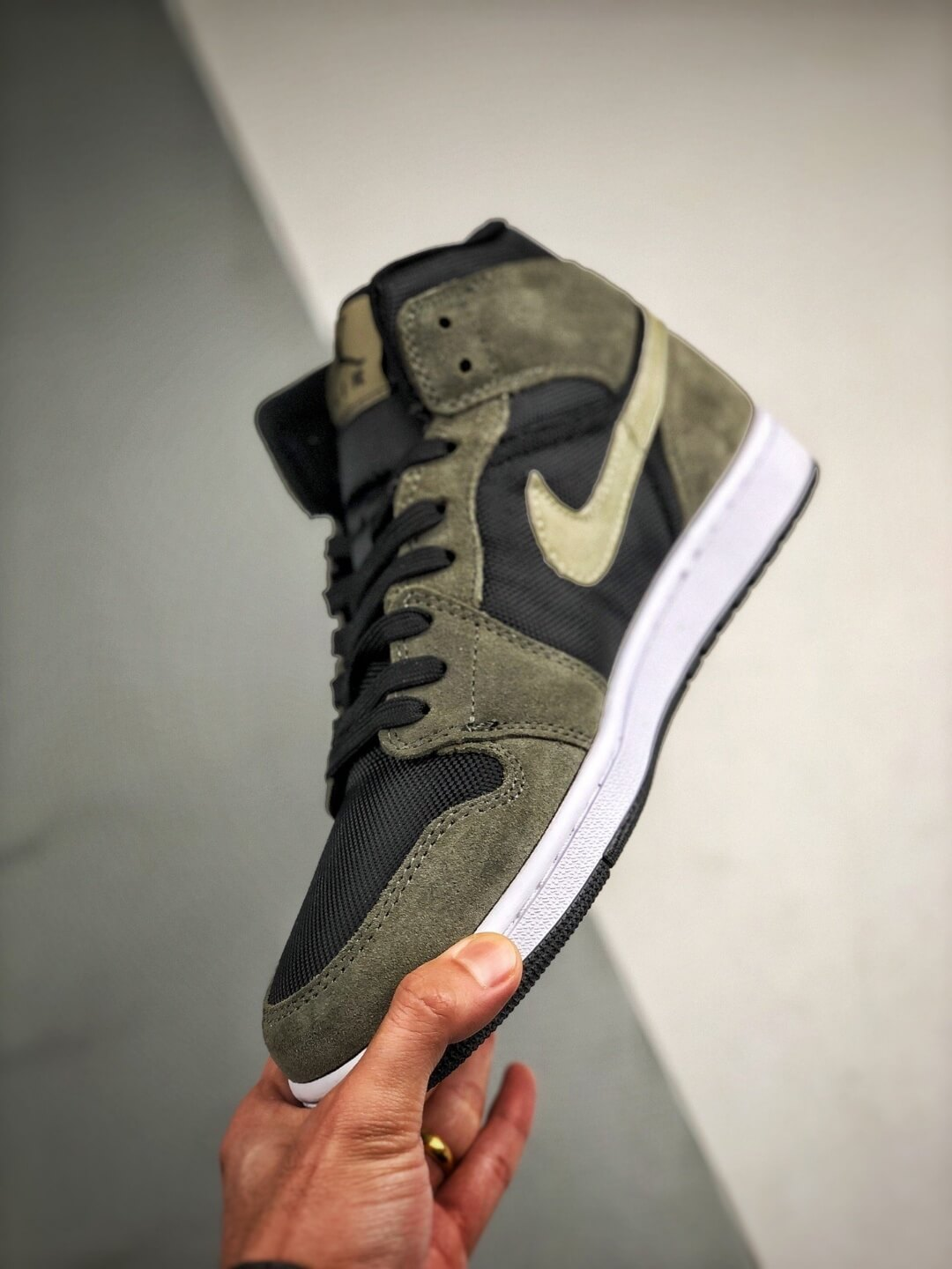 The Nike Wmns Air Jordan 1 Mid Olive Black Mesh Underlay Olive Tan Suede Overlay Repshoes 04