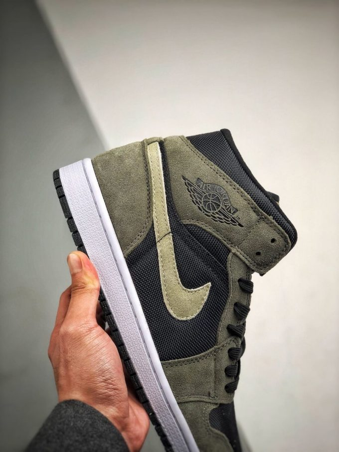The Nike Wmns Air Jordan 1 Mid Olive Black Mesh Underlay Olive Tan Suede Overlay Repshoes 05