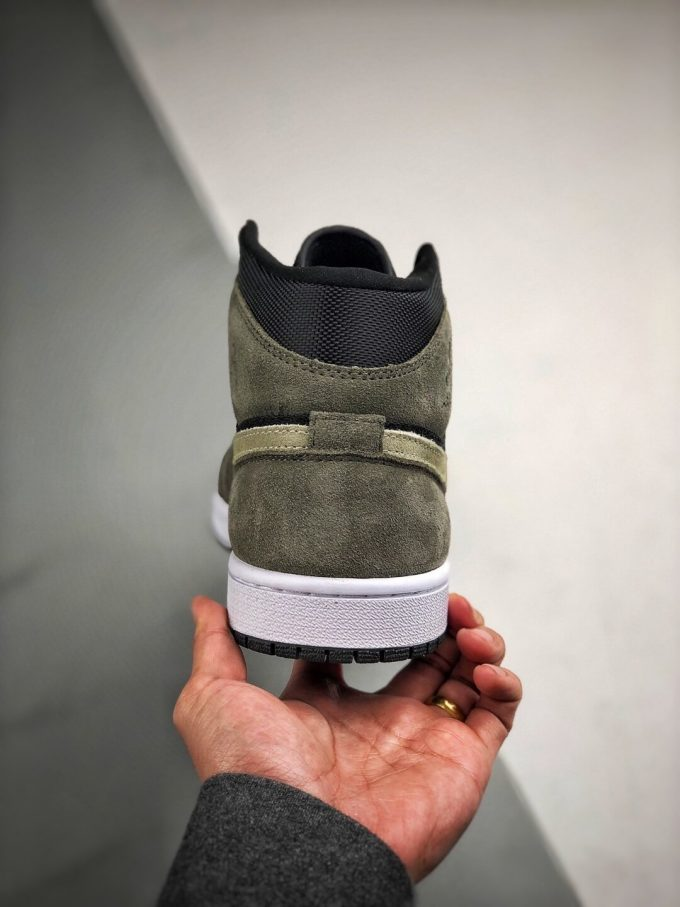 The Nike Wmns Air Jordan 1 Mid Olive Black Mesh Underlay Olive Tan Suede Overlay Repshoes 07