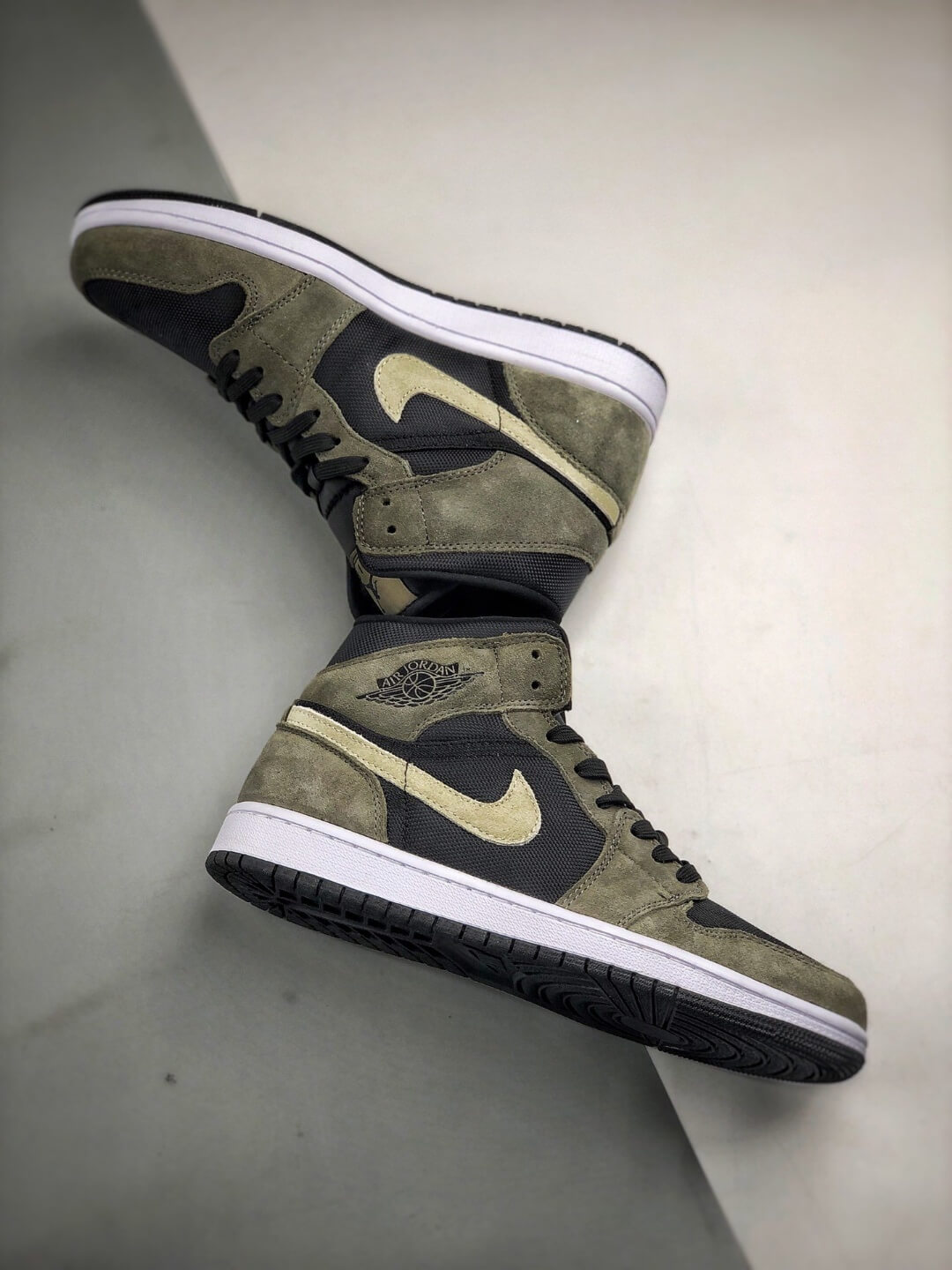 The Nike Wmns Air Jordan 1 Mid Olive Black Mesh Underlay Olive Tan Suede Overlay Repshoes 08