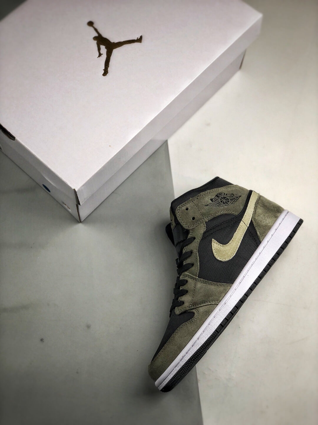The Nike Wmns Air Jordan 1 Mid Olive Black Mesh Underlay Olive Tan Suede Overlay Repshoes 09