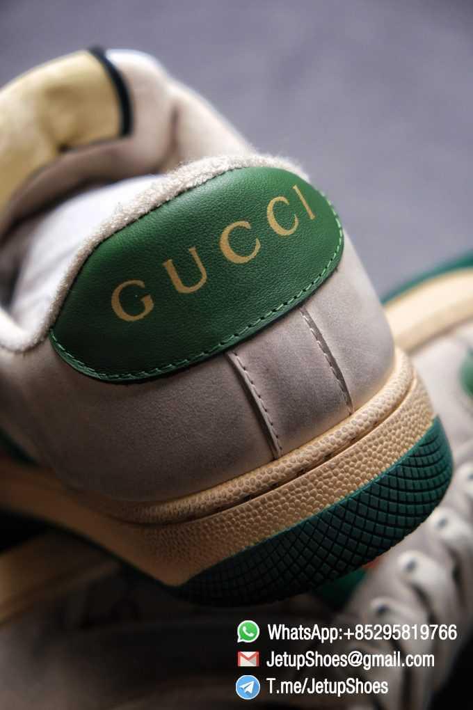 Gucci,Distressed Screener Sneaker,Screener Leather Sneaker,Low-Top,Screener Leather Sneaker Low-Top Sneaker, Gucci Vintage Green and Orange Effect Sneakers