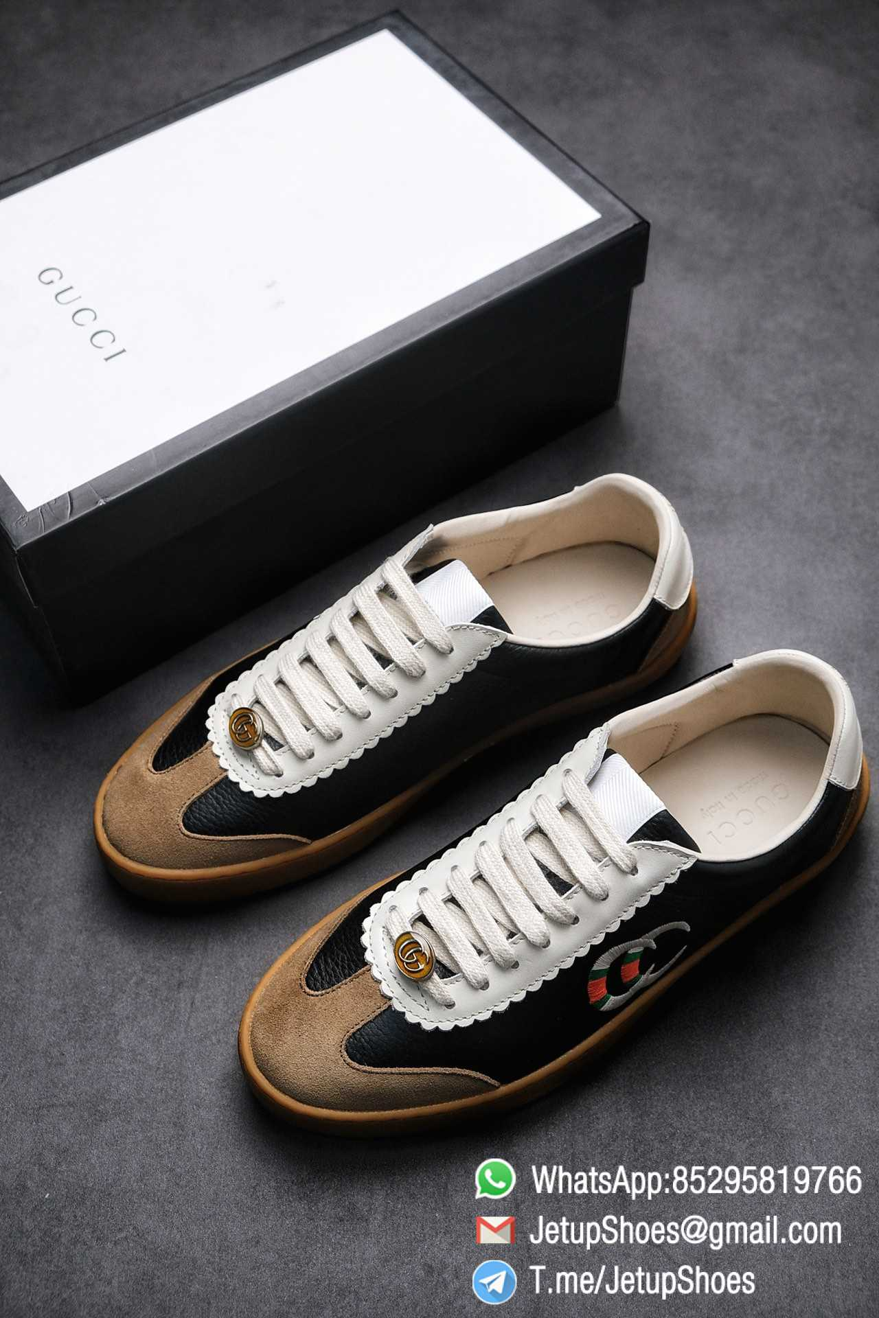 Gucci JBG Leather And Suede Mens Low top Sneaker Black Upper White Lace Guard Embroidered CC Applique Metal GG Lable Rubber Sole 01 1