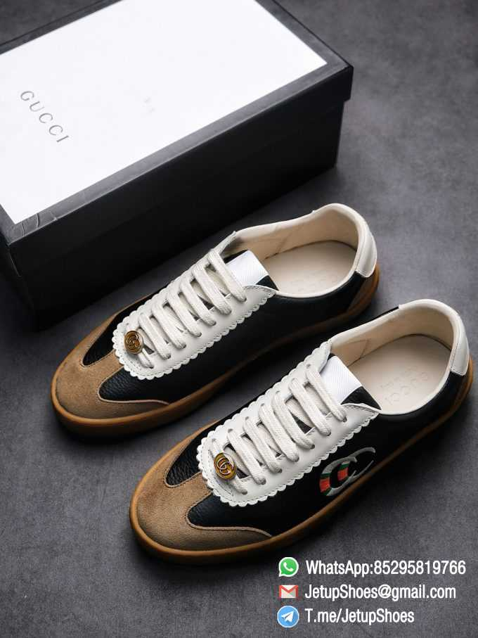 Gucci JBG Leather And Suede Mens Low top Sneaker Black Upper White Lace Guard Embroidered CC Applique Metal GG Lable Rubber Sole 01 2