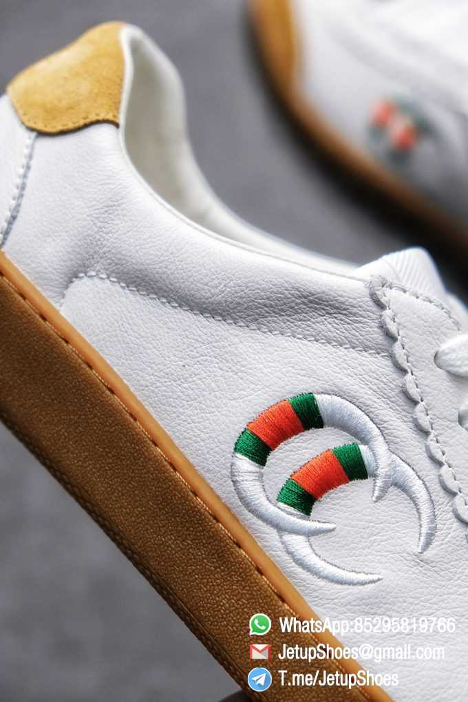 Gucci JBG Leather And Suede Mens Low top Sneaker White Upper White Green Red Embroidered Double C Applique GG Lable Rubber Sole 03