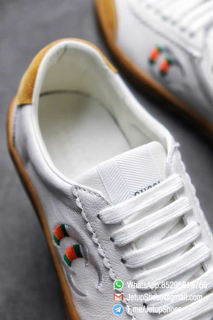 Gucci JBG Leather And Suede Mens Low top Sneaker White Upper White Green Red Embroidered Double C Applique GG Lable Rubber Sole 05