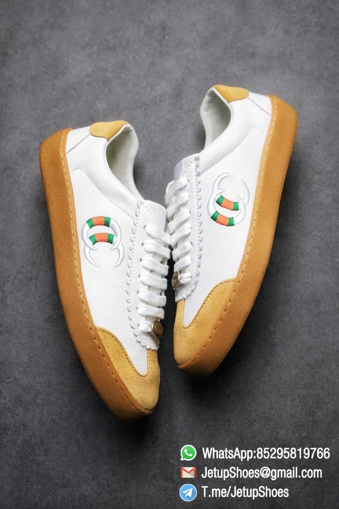 Gucci JBG Leather And Suede Mens Low top Sneaker White Upper White Green Red Embroidered Double C Applique GG Lable Rubber Sole 08