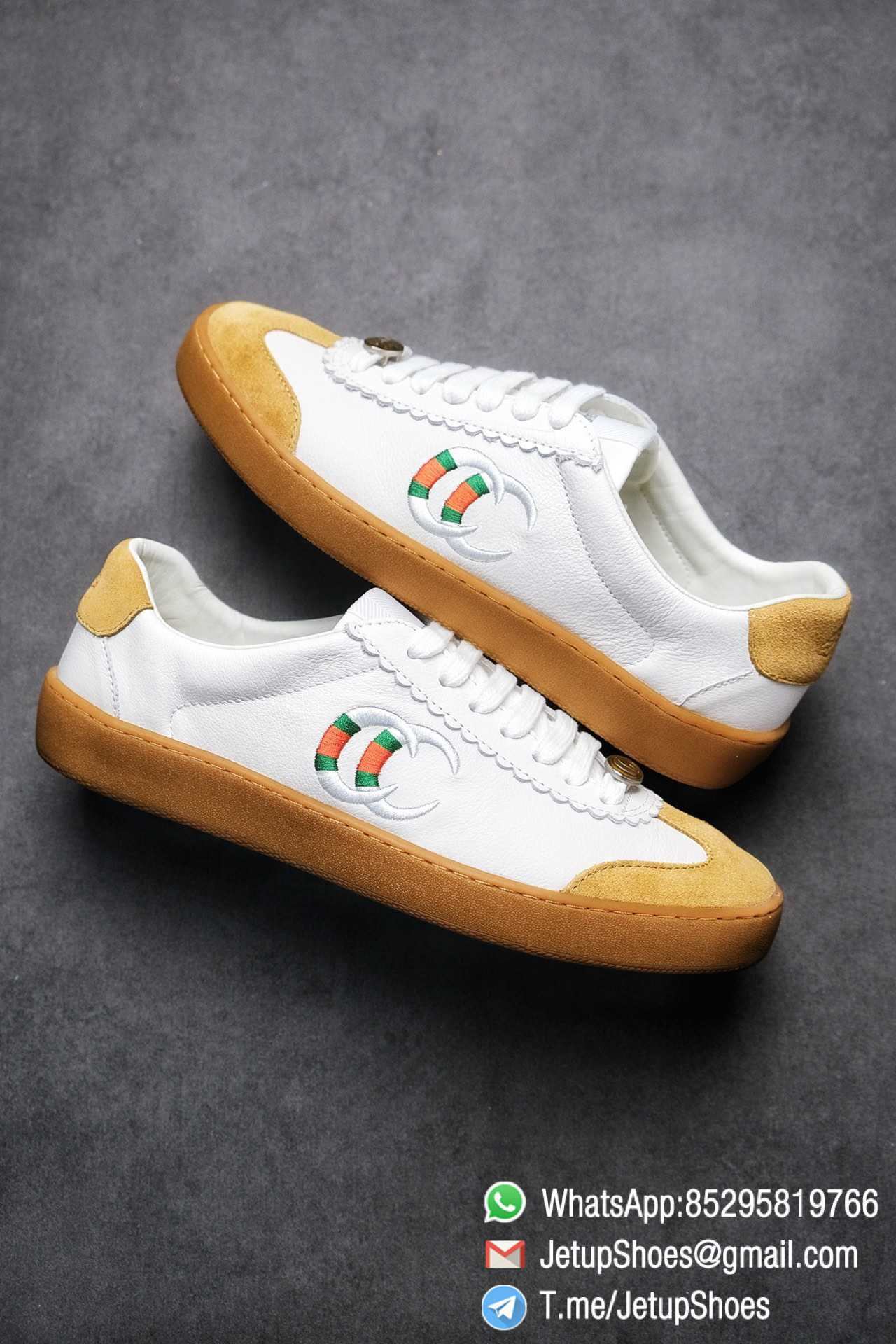 Gucci JBG Leather And Suede Mens Low top Sneaker White Upper White Green Red Embroidered Double C Applique GG Lable Rubber Sole 09