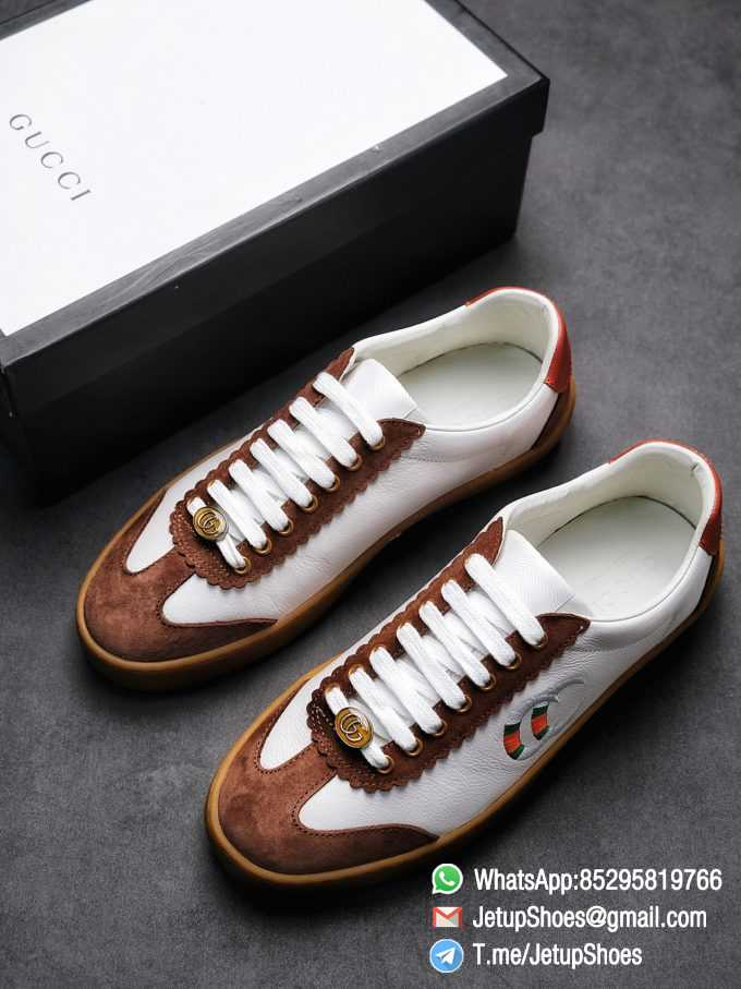 Gucci JBG Leather And Suede Sneaker Brown White Upper Lace Guard White Green Red Embroidered GG Rubber Sole 01 1