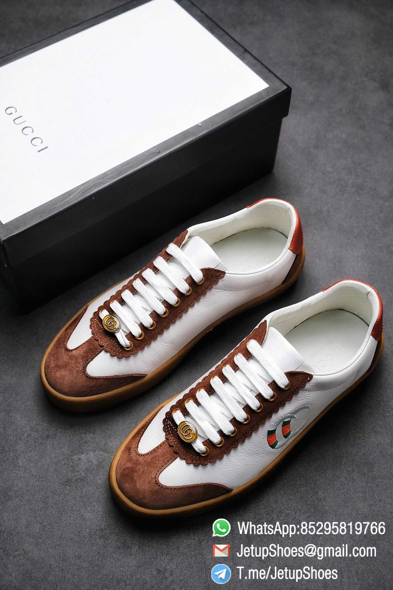 Gucci JBG Leather And Suede Sneaker Brown White Upper Lace Guard White Green Red Embroidered GG Rubber Sole 01